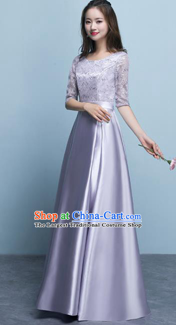 Top Grade Stage Performance Compere Lilac Formal Dress Chorus Elegant Lace Full Dress for Women