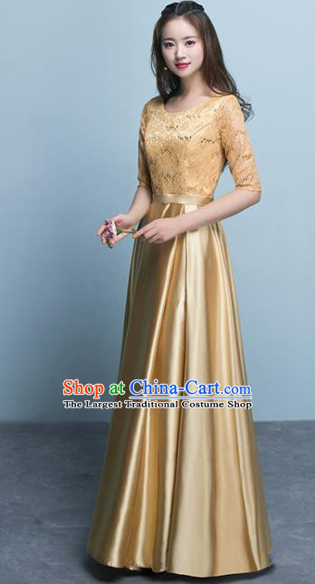 Top Grade Stage Performance Compere Golden Formal Dress Chorus Elegant Lace Full Dress for Women
