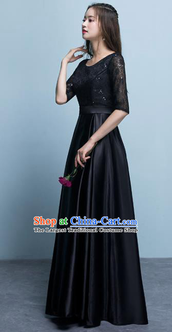 Top Grade Stage Performance Compere Black Formal Dress Chorus Elegant Lace Full Dress for Women