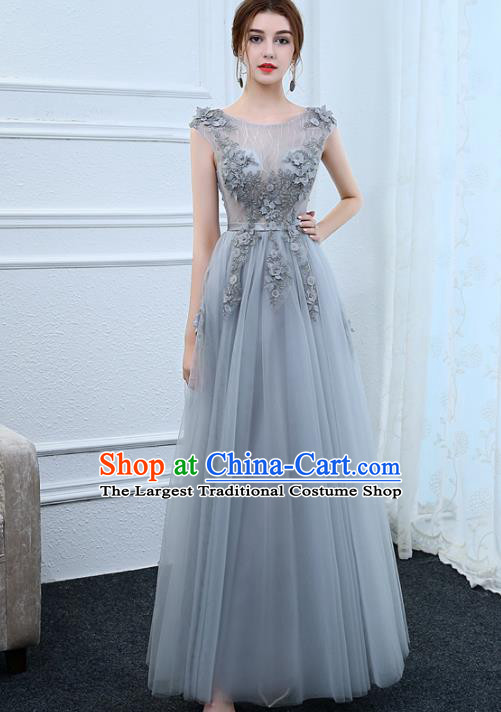 Top Grade Stage Performance Compere Formal Dress Chorus Elegant Grey Veil Full Dress for Women