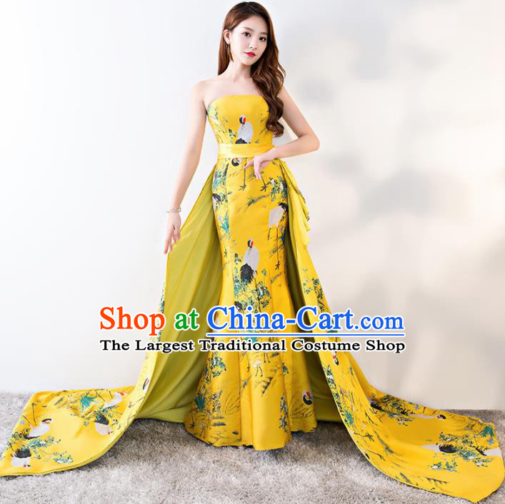 Chinese Traditional Yellow Strapless Qipao Dress Elegant Compere Full Dress for Women