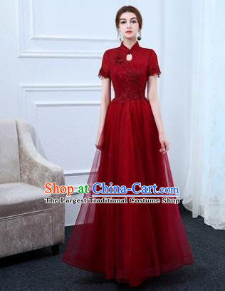 Top Grade Stage Performance Compere Formal Dress Chorus Elegant Red Veil Full Dress for Women