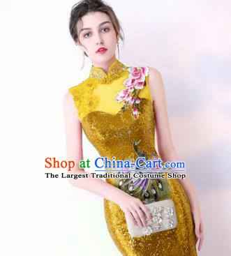 Chinese Traditional Golden Cheongsam Elegant Embroidered Qipao Dress Compere Full Dress for Women