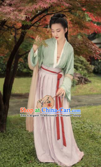 Chinese Traditional Song Dynasty Silk Historical Costumes Ancient Nobility Lady Hanfu Dress for Women