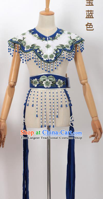 Chinese Traditional Beijing Opera Diva Accessories Royalblue Shoulder Cape and Belt for Women