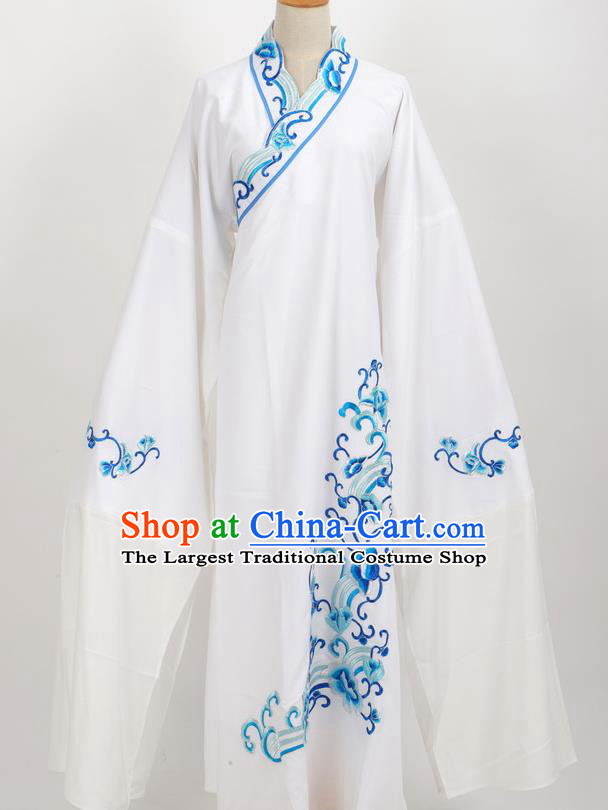 Professional Chinese Traditional Beijing Opera Niche White Robe Ancient Scholar Costume for Men