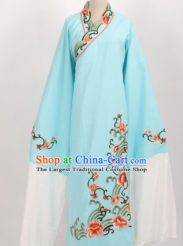 Professional Chinese Traditional Beijing Opera Niche Light Blue Robe Ancient Scholar Costume for Men