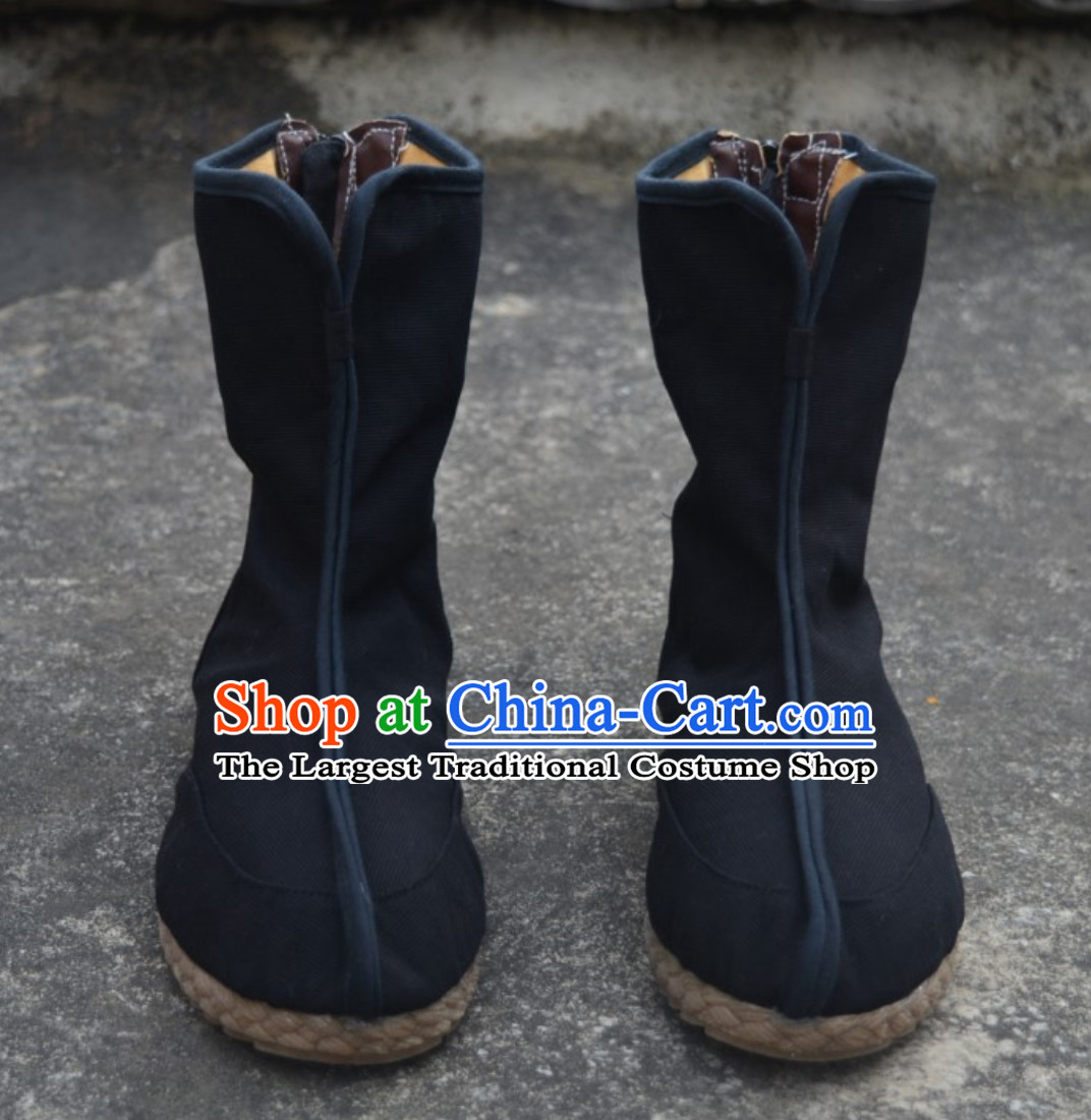 Chinese Classical Warrior Black Knight Shoes Boots for Men