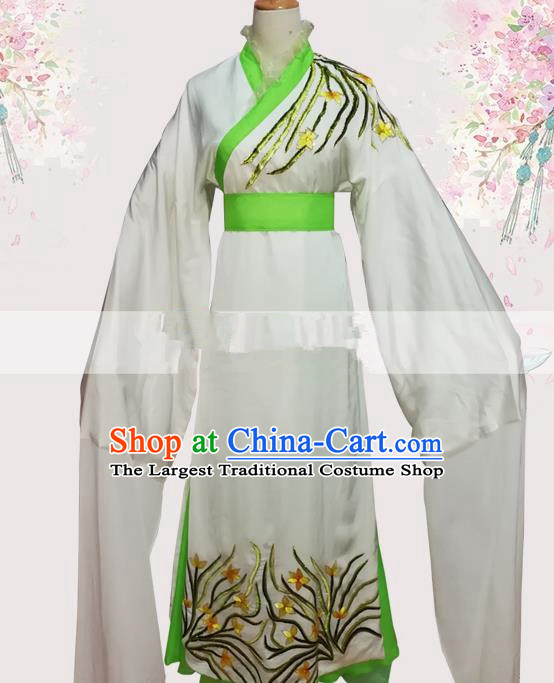 Professional Chinese Traditional Beijing Opera Diva White Dress Ancient Nobility Lady Costumes for Women