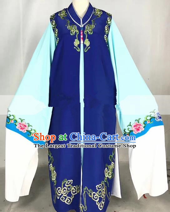 Professional Chinese Traditional Beijing Opera Niche Royalblue Ceremonial Robe Ancient Nobility Childe Costume for Men