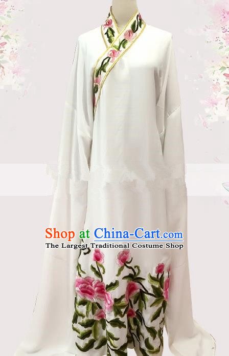 Professional Chinese Traditional Beijing Opera White Embroidered Robe Ancient Scholar Costume for Men