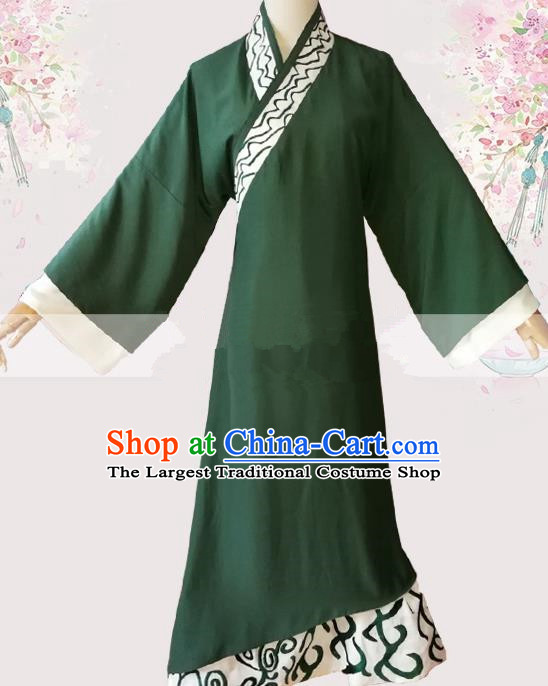 Professional Chinese Traditional Beijing Opera Deep Green Robe Ancient Scholar Costume for Men