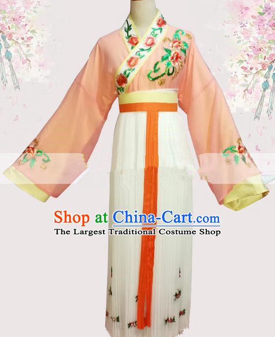 Professional Chinese Traditional Beijing Opera Orange Dress Ancient Maidservants Costume for Women