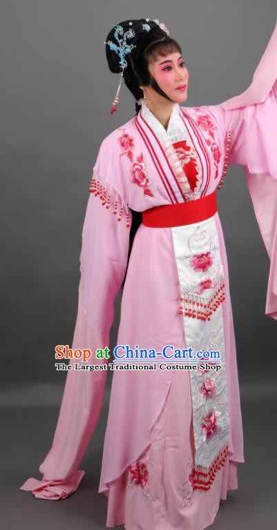 Professional Chinese Traditional Beijing Opera Embroidered Pink Dress Ancient Palace Princess Costume for Women