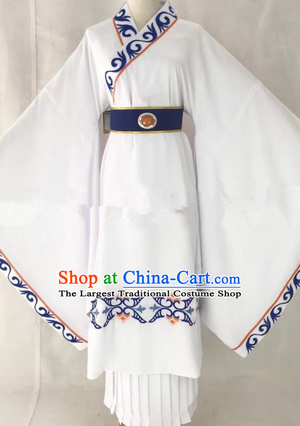 Professional Chinese Traditional Beijing Opera White Clothing Ancient Scholar Costume for Men
