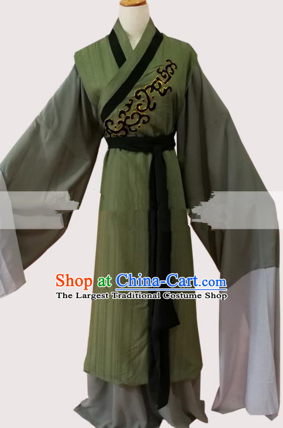 Professional Chinese Traditional Beijing Opera Old Male Olive Green Clothing Ancient Landlord Costume for Men