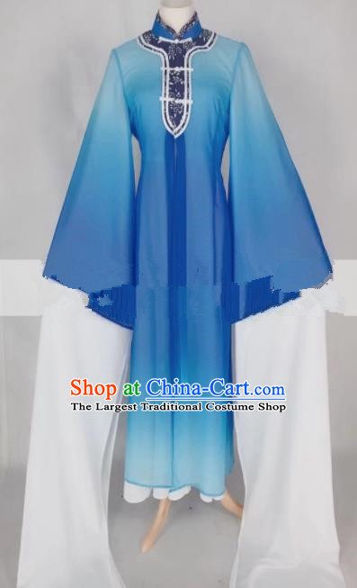 Professional Chinese Traditional Beijing Opera Qin Xianglian Blue Dress Ancient Country Lady Costume for Women