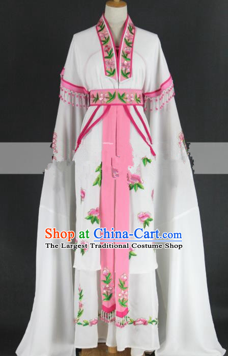 Chinese Traditional Peking Opera Diva Kou Zhu White Dress Ancient Palace Lady Costume for Women