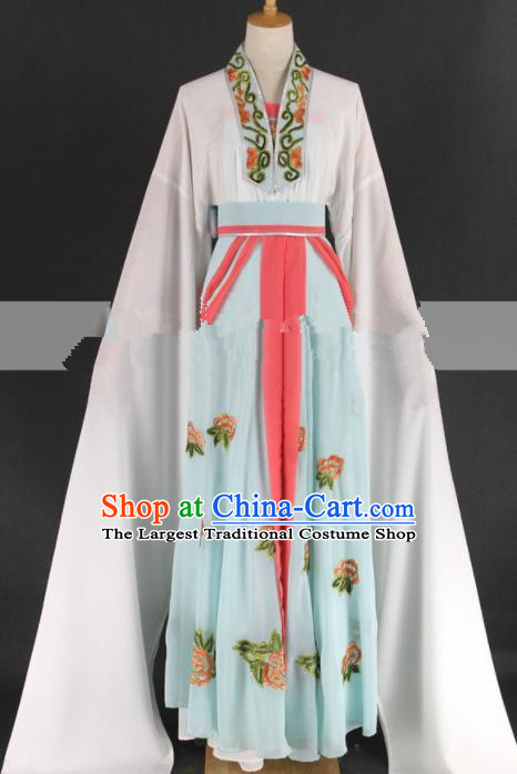 Chinese Traditional Peking Opera Diva Kou Zhu Light Blue Dress Ancient Palace Lady Costume for Women