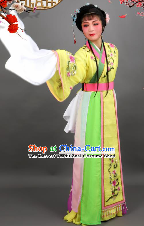 Chinese Traditional Peking Opera Diva Princess Yellow Dress Ancient Palace Lady Costume for Women