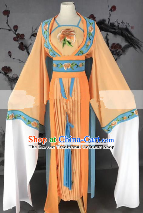 Chinese Traditional Peking Opera Diva Princess Orange Dress Ancient Palace Lady Costume for Women
