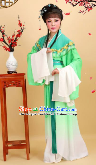 Chinese Traditional Peking Opera Diva Princess Green Dress Ancient Palace Lady Costume for Women