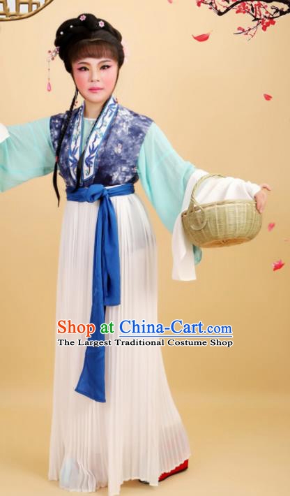 Chinese Traditional Peking Opera Country Lady Dress Ancient Maidservant Costume for Women