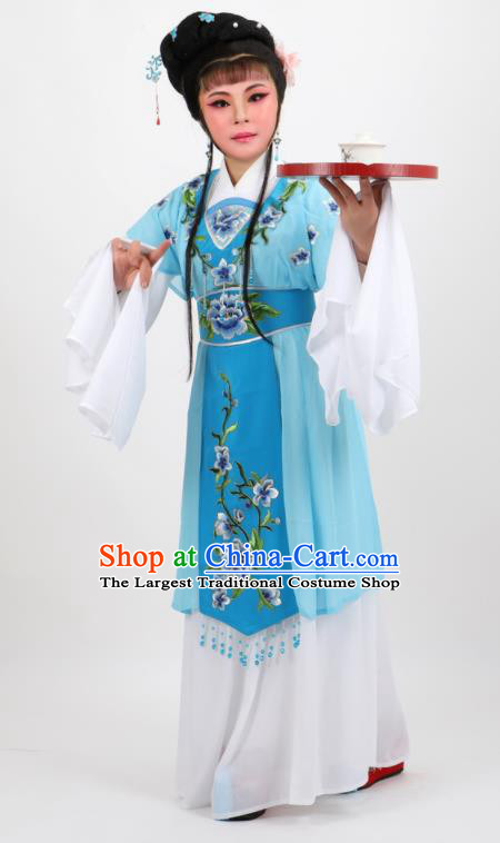 Chinese Traditional Peking Opera Diva Kou Zhu Blue Dress Ancient Court Maid Costume for Women