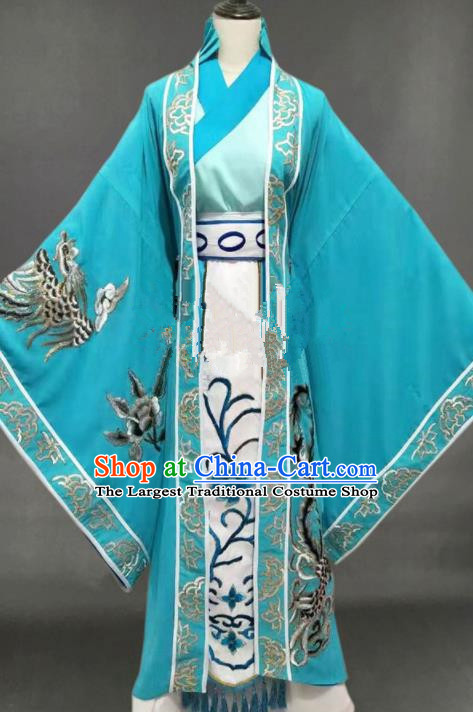 Chinese Traditional Peking Opera Diva Blue Dress Ancient Court Queen Costume for Women