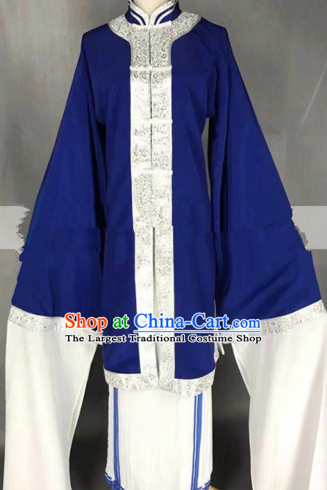 Chinese Traditional Peking Opera Diva Qin Xianglian Blue Dress Ancient Country Lady Costume for Women