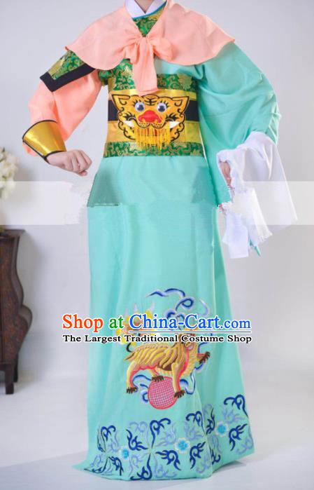 Professional Chinese Traditional Beijing Opera Takefu Green Clothing Ancient Swordsman Costume for Men