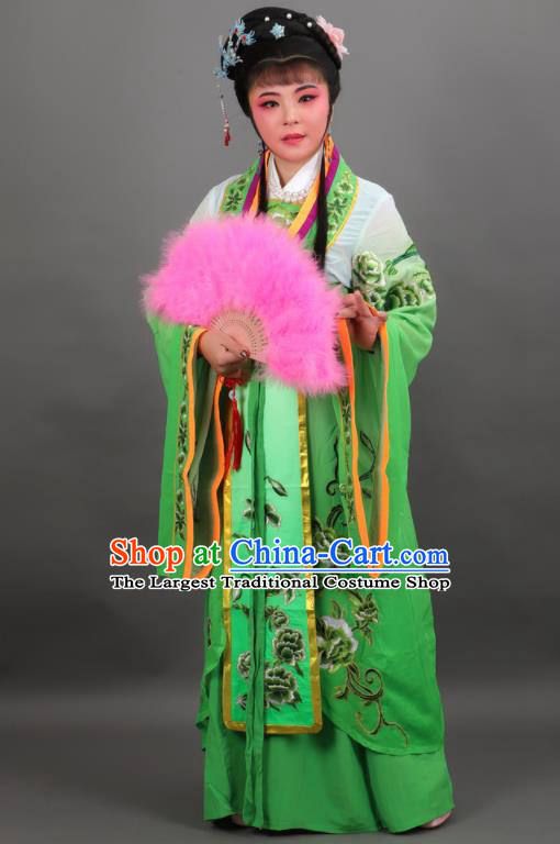 Chinese Traditional Peking Opera Diva Empress Green Dress Ancient Court Queen Costume for Women