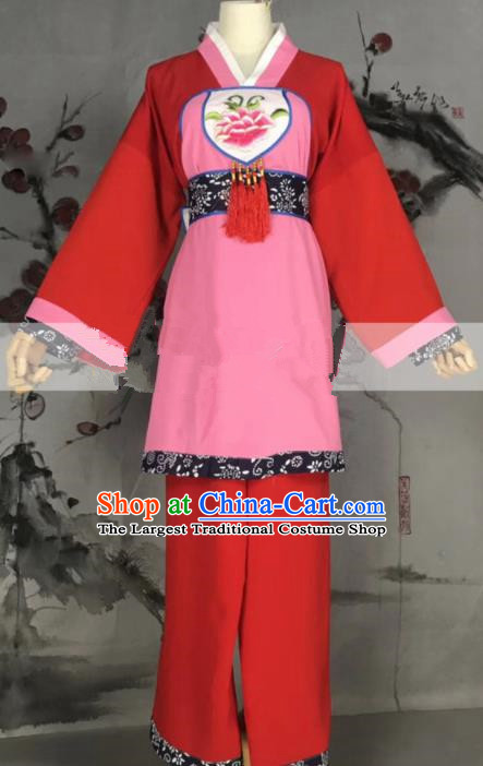 Professional Chinese Traditional Beijing Opera Maidservants Red Dress Ancient Country Lady Costume for Women