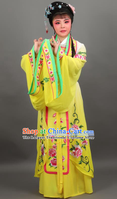 Chinese Traditional Peking Opera Diva Empress Yellow Dress Ancient Court Queen Costume for Women