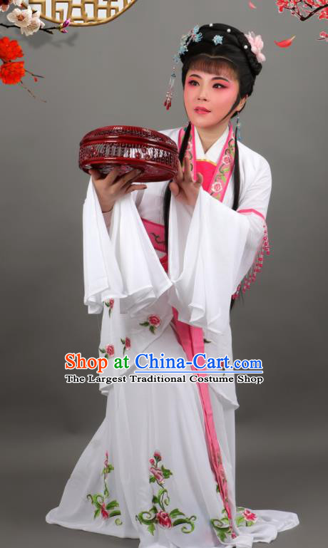 Chinese Traditional Peking Opera Diva White Dress Ancient Countess Costume for Women