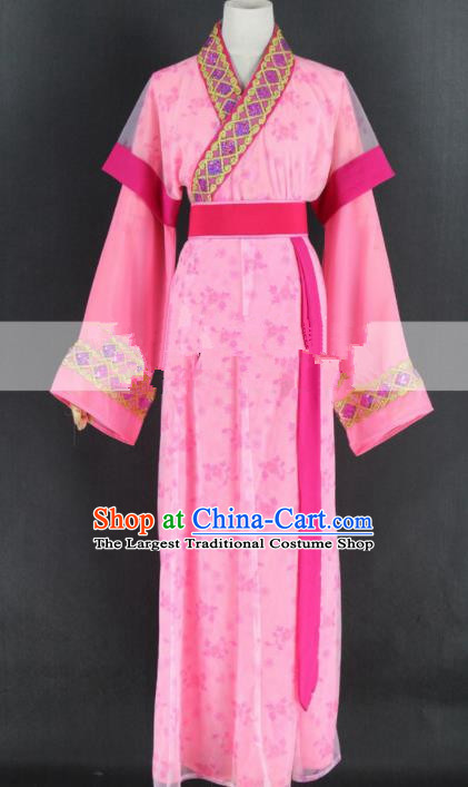 Chinese Traditional Peking Opera Diva Pink Dress Ancient Country Lady Costume for Women
