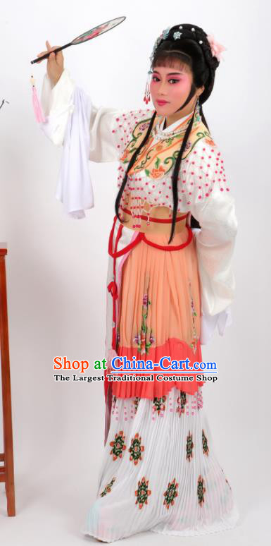 Chinese Traditional Peking Opera Actress Hua Tan Orange Dress Ancient Rich Lady Costume for Women