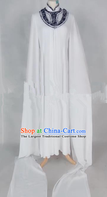 Professional Chinese Traditional Beijing Opera Qin Xianglian White Dress Ancient Country Lady Costume for Women