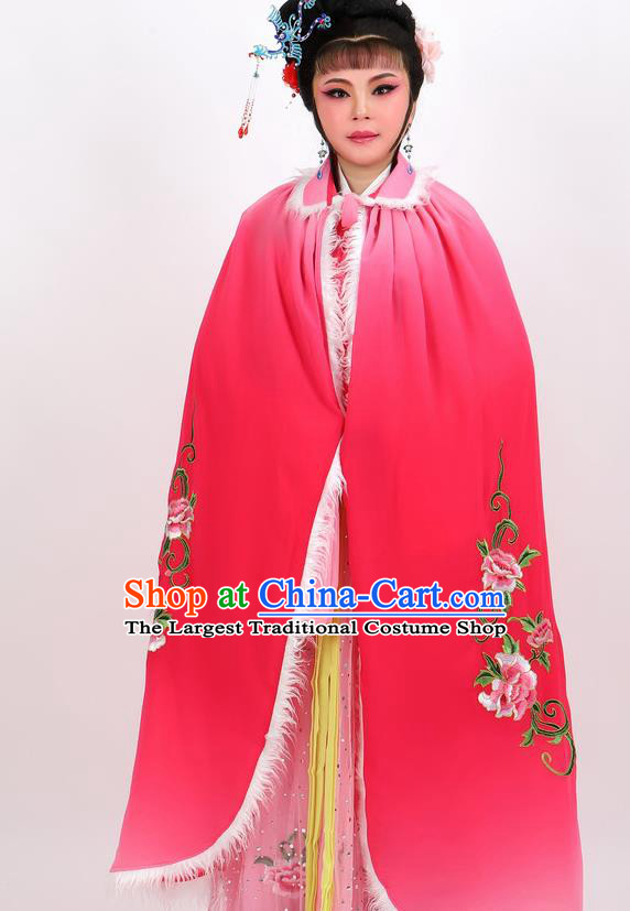 Professional Chinese Traditional Beijing Opera Rosy Cape Ancient Princess Costume for Women