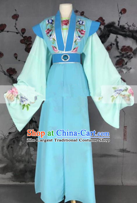 Professional Chinese Traditional Beijing Opera Niche Clothing Ancient Scholar Blue Costume for Men