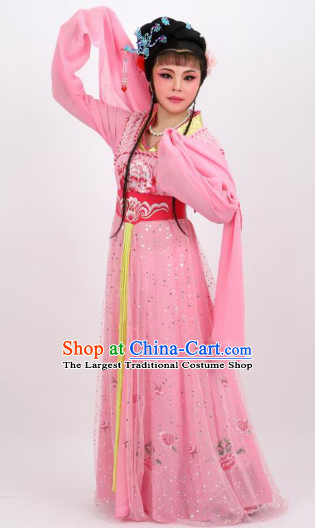Professional Chinese Traditional Peking Opera Princess Pink Dress Ancient Palace Lady Costume for Women