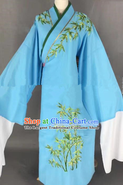 Professional Chinese Traditional Beijing Opera Niche Embroidered Bamboo Blue Robe Ancient Scholar Costume for Men