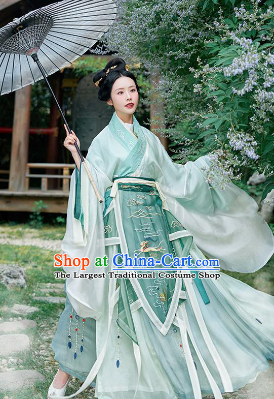 Asian Chinese Jin Dynasty Court Princess Green Hanfu Dress Traditional Ancient Drama Goddess Luo Costumes for Women