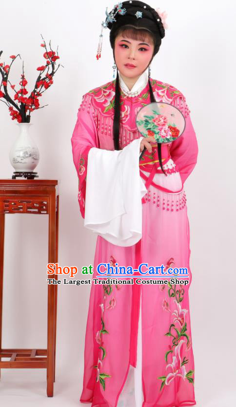 Chinese Traditional Peking Opera Actress Court Princess Rosy Dress Ancient Palace Lady Costume for Women