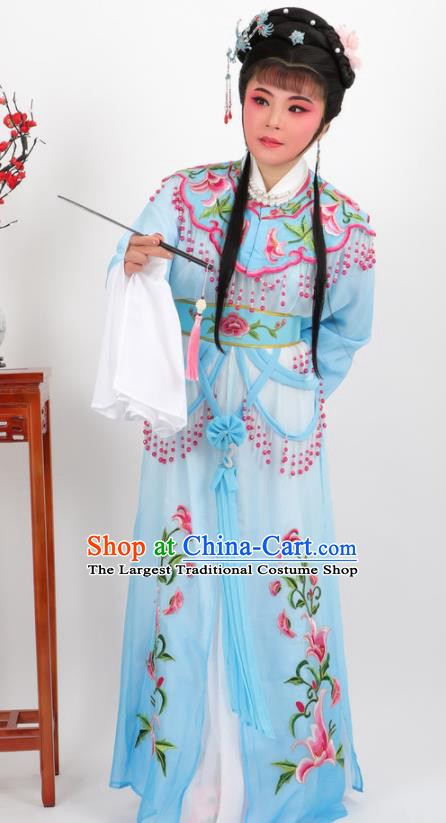 Chinese Traditional Peking Opera Actress Court Princess Blue Dress Ancient Palace Lady Costume for Women