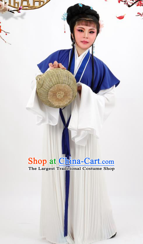 Chinese Traditional Peking Opera Maidservant Blue Dress Ancient Farmwife Costume for Women