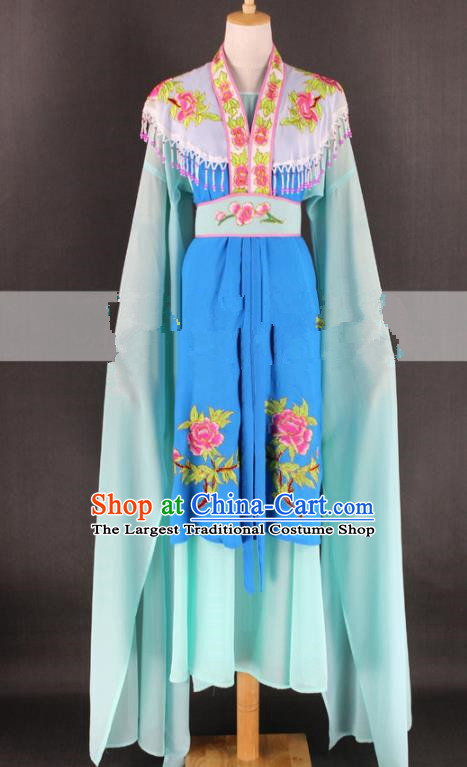 Chinese Traditional Peking Opera Rich Lady Blue Dress Ancient Royal Princess Costume for Women