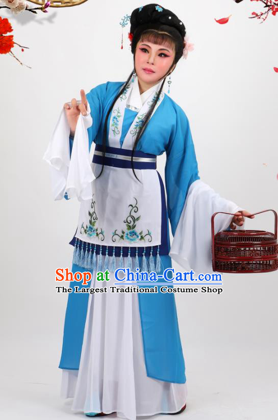 Chinese Traditional Peking Opera Maidservant Blue Dress Ancient Country Lady Costume for Women