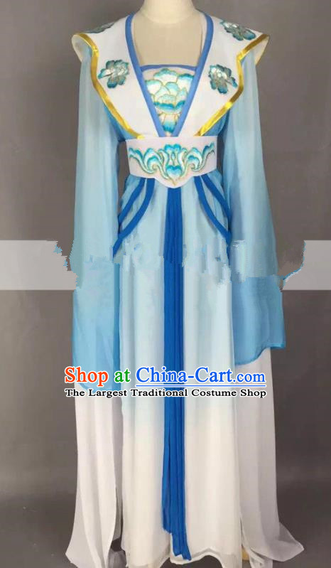 Chinese Traditional Peking Opera Actress Court Maid Blue Dress Ancient Rich Lady Costume for Women