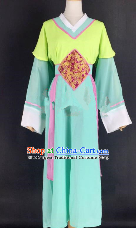 Chinese Traditional Peking Opera Actress Court Maid Green Dress Ancient Servant Girl Costume for Women